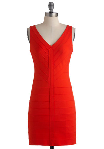 Mingle with Me Dress in Poppy by BB Dakota - Short, Red, Solid, Sleeveless, Summer, Girls Night Out, Bodycon / Bandage, Cocktail, Holiday Party, V Neck, Tis the Season Sale