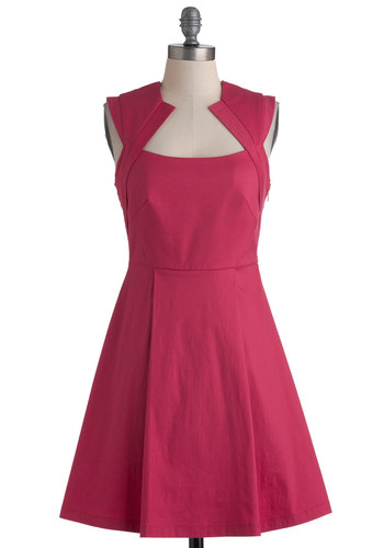 Pink Happy Thoughts Dress - Mid-length, Pink, Solid, Wedding, Party, Sleeveless, Fit & Flare, Pleats, Vintage Inspired, Bridesmaid