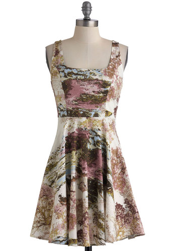 Afternoon at the Oasis Dress - Short, Multi, Blue, Pink, Brown, Tan / Cream, Print, Party, A-line, Tank top (2 thick straps), Variation, Cotton, Top Rated