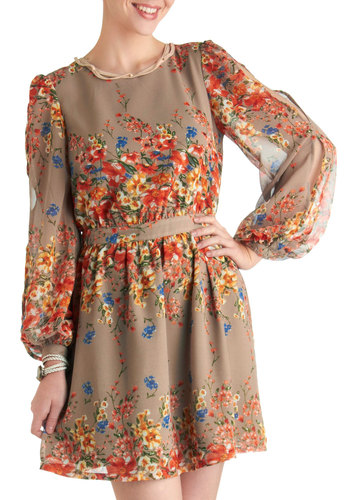 Beneath the Veranda Dress in Taupe - Short, Tan, Multi, Floral, Party, A-line, Long Sleeve, Multi, Sheer, Coral, Daytime Party
