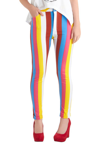 Carnival Cute Jeans by Motel - Multi, Red, Yellow, Blue, Pink, White, Stripes, Casual, Skinny, Statement, Denim