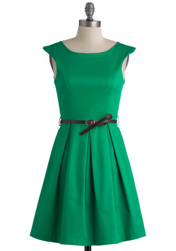 A Grand Weekday Out Dress - Mid-length, Green, Solid, Pleats, Party, Belted, Fit & Flare, Cap Sleeves, Cotton, Variation