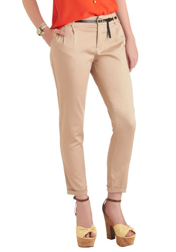 New Slack Swing Pants in Khaki - Tan, Solid, Pockets, Cropped, Cotton