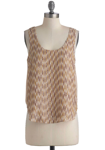 Caramel Creme Top - Tan, Silver, Gold, Solid, Party, Tank top (2 thick straps), Mid-length, Sequins, Statement, Summer, Sheer