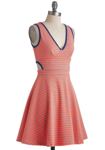Rollerblader of Glory Dress - Multi, Blue, Pink, Grey, Stripes, Cutout, Casual, Tank top (2 thick straps), Summer, Mid-length, A-line, Colorblocking