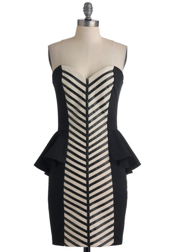 Ladders and Lasses Dress - Black, Tan / Cream, Stripes, Exposed zipper, Party, Strapless, Girls Night Out, Peplum, Mid-length, Sweetheart