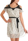 Ivory Single Bird Dress - Mid-length, Black, White, Print with Animals, Cutout, Party, A-line, Short Sleeves, Summer, Belted, Sheer