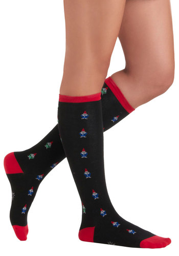Very Well Gnome Socks - Black, Red, Novelty Print, Casual, Kawaii