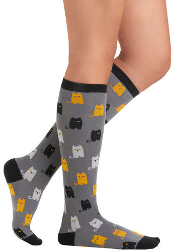 The Cat Pack Socks - Grey, Yellow, Black, Print with Animals