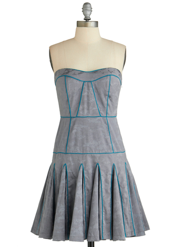 Sample 1958 - Grey, Blue, Print, Party, A-line, Strapless