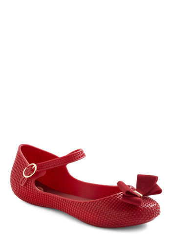 So Cute It's a Crimson Flat by Melissa Shoes - Red, Solid, Bows, Casual, Spring, International Designer