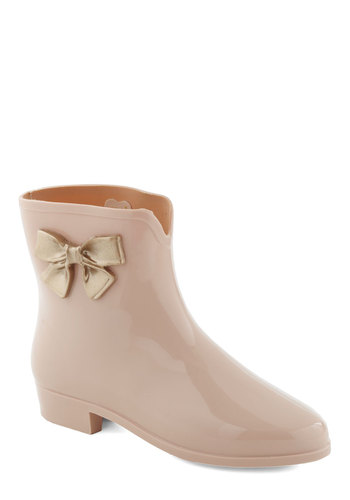 Showers and Smiles Rain Boot by Mel Shoes - Pink, Gold, Bows, Casual, Statement, Spring