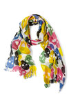 A-head of Trends Scarf - Multi, White, Novelty Print, Casual, Urban, Yellow, Green, Pink, Black, Fringed, Statement