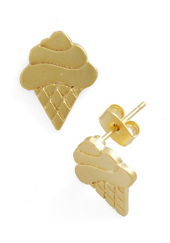 I Cone Dig It Earrings - Gold, Solid, Casual, Summer