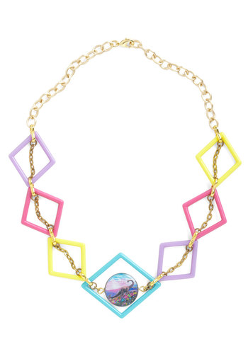 When Darling Ruled Necklace - Multi, Multi, Print with Animals, Casual, Statement, Pastel, Quirky, Tis the Season Sale