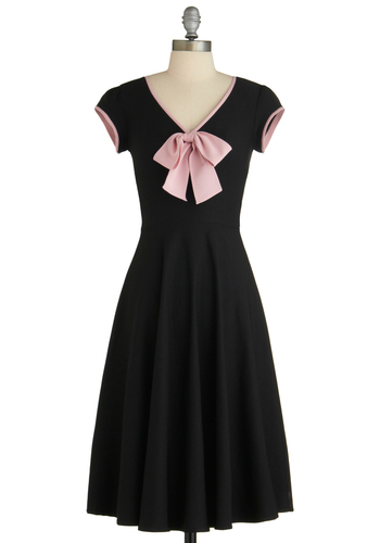 All That and Demure Dress in Midnight by Stop Staring! - Long, Black, Pink, Solid, Bows, A-line, Cap Sleeves, 50s, V Neck, Pinup, Better, Exclusives, Trim, Work, Casual, Vintage Inspired, Top Rated