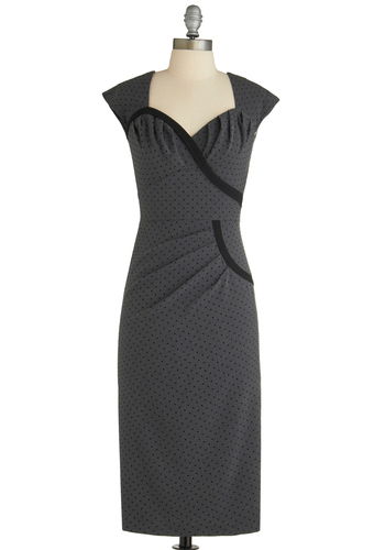 Jive with Me Dress by Stop Staring! - Long, Grey, Black, Polka Dots, Pleats, Work, Sheath / Shift, Cap Sleeves, Vintage Inspired, 40s, Sweetheart