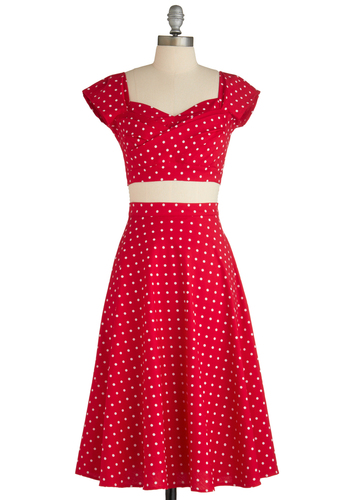 Pin-Up to Par Dress by Stop Staring! - Red, White, Polka Dots, Party, Rockabilly, Vintage Inspired, 50s, A-line, Cap Sleeves, Short, Fit & Flare, Sweetheart
