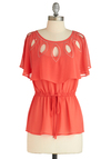 Leafing Through the Pages Top - Orange, Solid, Cutout, Short Sleeves, Casual, Spring, Mid-length, Sheer, Coral, Tis the Season Sale