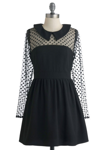 Dot a Hold on Me Dress by Darling - Black, Polka Dots, Exposed zipper, Peter Pan Collar, Party, A-line, Long Sleeve, Film Noir, Short, Sheer, Collared