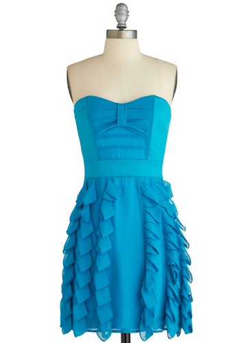 Sample 1964 - Blue, Solid, Ruffles, Party, A-line, Strapless