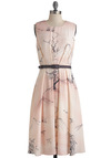 Tree Chic Dress by Eva Franco - Long, Pink, Brown, Print, Pleats, A-line, Sleeveless, Belted, Daytime Party