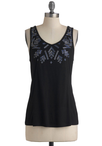 The Light Idea Top by BB Dakota - Black, Beads, Racerback, Mid-length