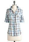 Everything is Great Lakes Top in Blue - Mid-length, Blue, Red, White, Plaid, Buttons, Pockets, Casual, Long Sleeve, Fall, Rustic, Scholastic/Collegiate, Cotton, Button Down, Collared