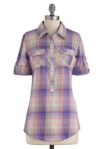 It All Plaids Up Top - Purple, Pink, Grey, White, Plaid, Buttons, Pockets, Casual, Long Sleeve, Fall, Mid-length, Cotton, Button Down, Collared, Rustic