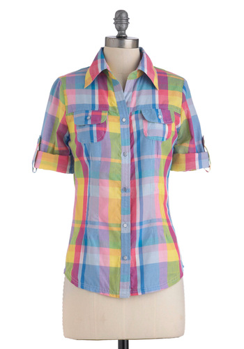 Everything is Great Lakes Top in Rainbow - Mid-length, Multi, Yellow, Blue, Pink, White, Plaid, Buttons, Pockets, Casual, 3/4 Sleeve, 90s, Cotton, Button Down, Collared, Rustic