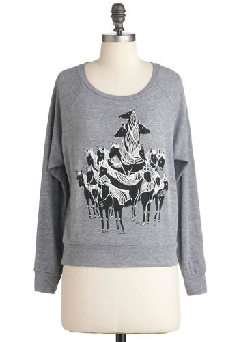 From New York to Filly Top - Grey, Black, Print with Animals, Casual, Long Sleeve, Short, Fall, Quirky, Travel