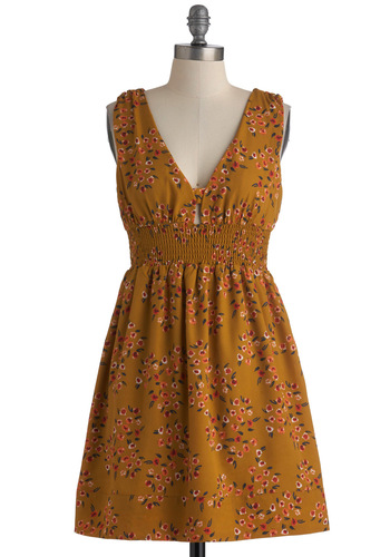 Piazza Party Dress - Short, Gold, Red, Orange, Green, White, Floral, Casual, Empire, Sleeveless, Summer, V Neck