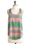 Craft Tent Top - Multi, Casual, Racerback, Print, Statement, Summer, Neon, Mid-length