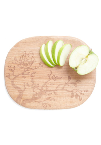 Flock on Wood Cutting Board - Tan, Fairytale, Rustic, Quirky, Minimal, Eco-Friendly
