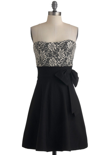Over and Overture Dress - Black, Tan / Cream, Lace, Formal, Party, Vintage Inspired, A-line, Strapless, Cocktail, Holiday Party, Mid-length, Fit & Flare, Sweetheart