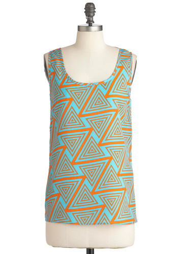 Metropolitan Role Model Top in Triangles - Print, Casual, Tank top (2 thick straps), Orange, Blue, Neon, Mid-length