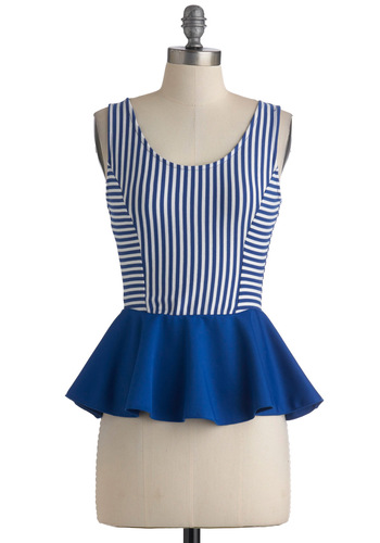 Rehoboth Beach Royalty Top - Blue, White, Stripes, Casual, Tank top (2 thick straps), Peplum, Nautical, Vintage Inspired, Spring, Summer, Mid-length