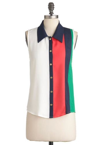 Gracing Stripes Top - Green, Blue, Pink, Black, Buttons, Casual, Menswear Inspired, Sleeveless, Mid-length, White, Coral, Button Down, Collared, Colorblocking