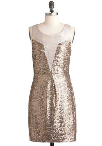 Taupe and Dream Dress - Mid-length, Bronze, Silver, Solid, Sequins, Party, Statement, Sheath / Shift, Sleeveless, Cocktail, Holiday Party