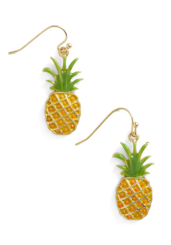 Pineapple a Day Earrings - Yellow, Green, Solid, Casual, Fruits, Summer
