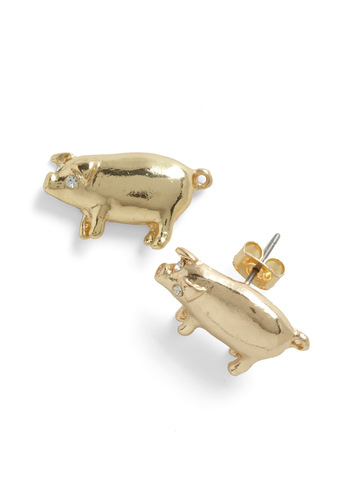 Piglet It Be Known Earrings - Gold, Solid, Rhinestones, Casual, Quirky