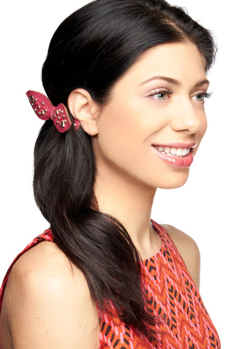 Bow It Alone Hair Clip - Pink, Gold, Studs