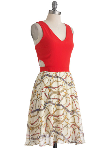 Gem Class Hero Dress - Brown, Tan / Cream, Gold, Print, Cutout, Party, A-line, Mid-length, Sleeveless, Summer, Red, V Neck