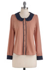 Demure All I Need Top - Mid-length, Pink, Blue, Buttons, Peter Pan Collar, Long Sleeve, Work, Button Down, Collared