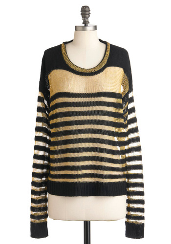 Gilt to Last Sweater - Black, Gold, Stripes, Long Sleeve, Mid-length, Casual, Fall