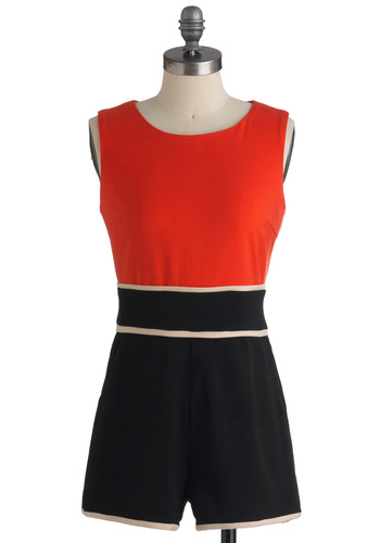 Mod-ern Day Beauty Romper - Orange, Black, Vintage Inspired, 60s, Sleeveless, Long, Tis the Season Sale