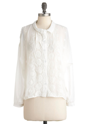 Willow You Join Us Top - White, Solid, Eyelet, Long Sleeve, Mid-length, Sheer, Button Down, Collared