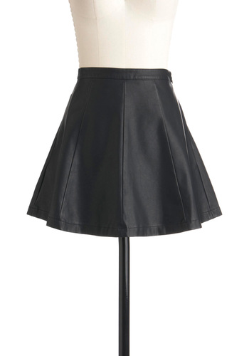 Midnight Rocker Skirt - Black, Solid, A-line, Short, Pockets, Party, Statement