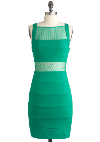So Mesh Glamour Dress - Mid-length, Green, Solid, Cutout, Sleeveless, Girls Night Out, Bodycon / Bandage, Sheer