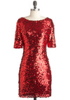 Femme in Flames Dress - Mid-length, Red, Sequins, Party, Statement, Short Sleeves, Cocktail, Holiday Party, Boat
